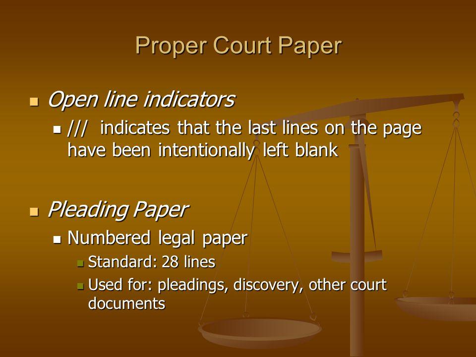 court paper