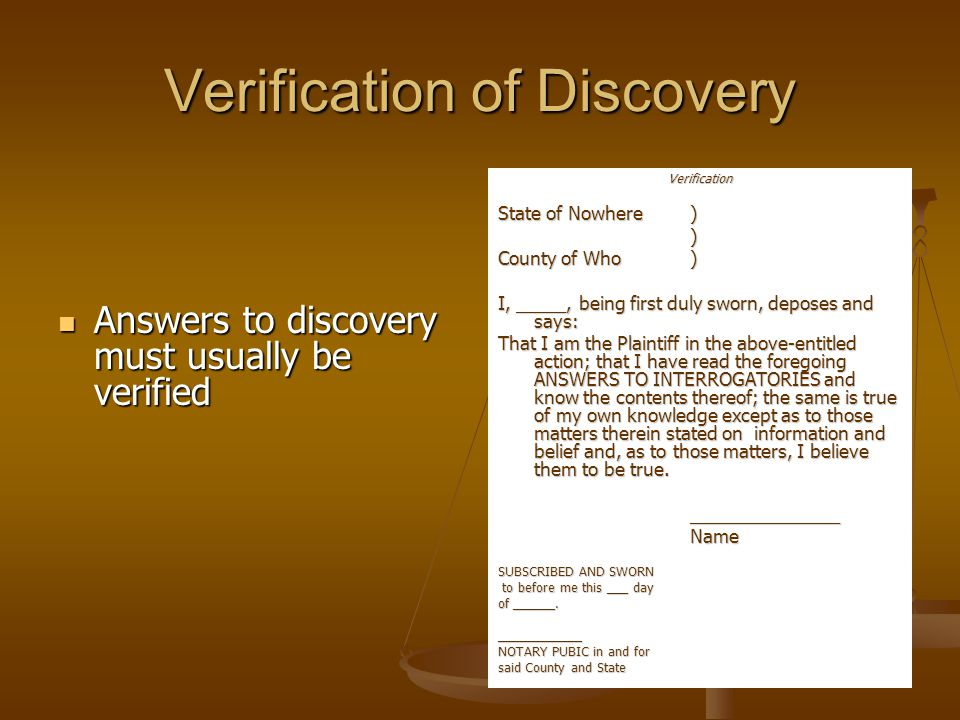 Verification of Discovery