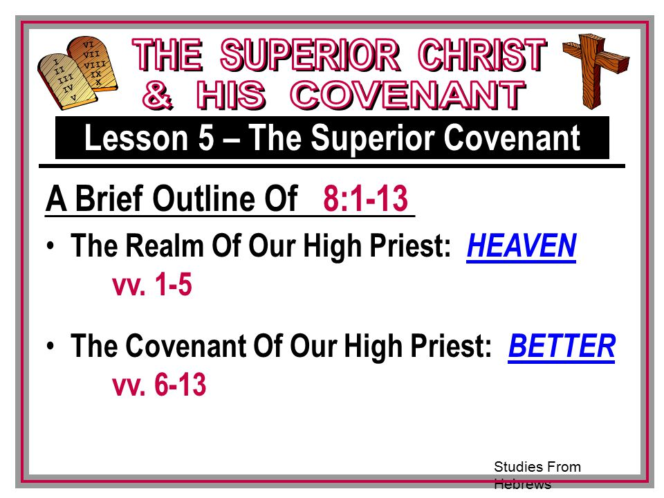 Lesson 5 – The Superior Covenant