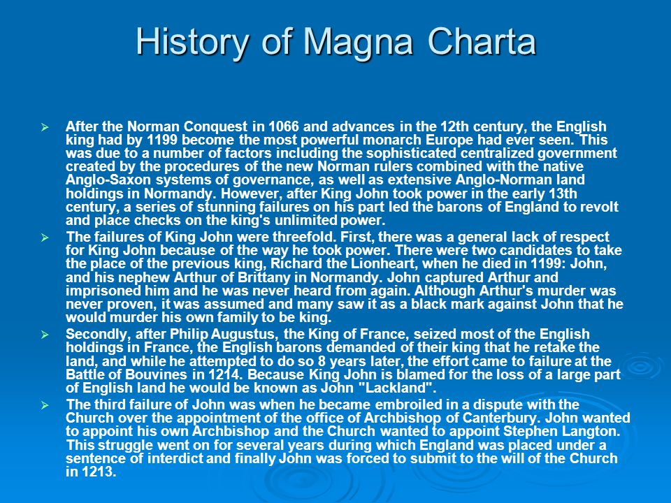 History of Magna Charta