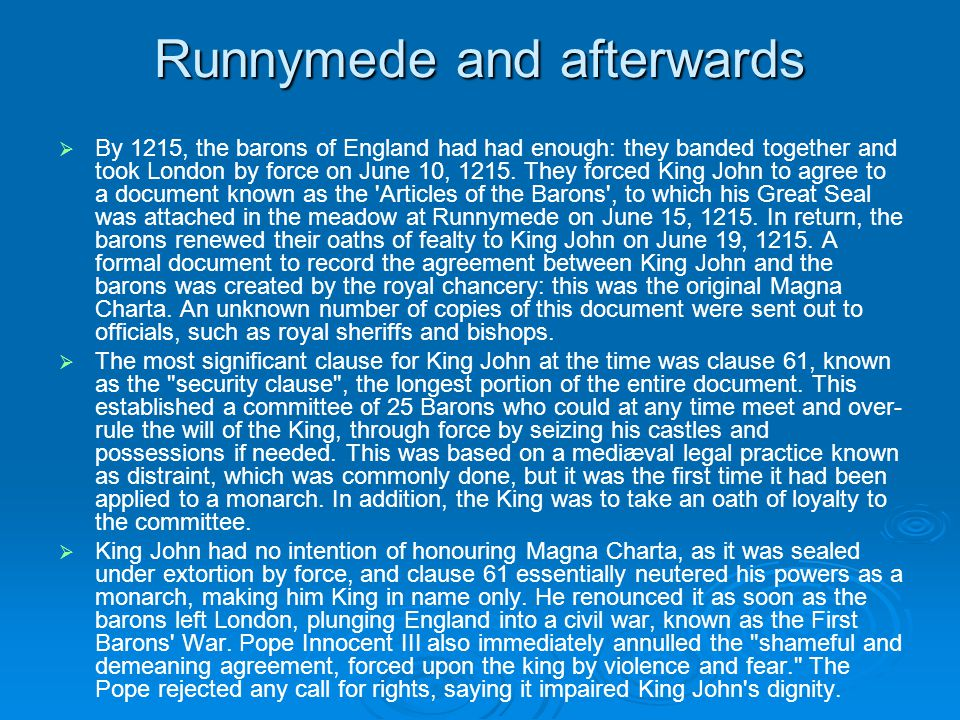 Runnymede and afterwards