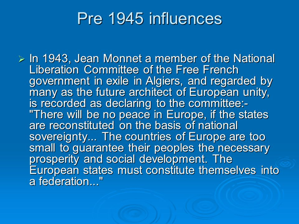Pre 1945 influences