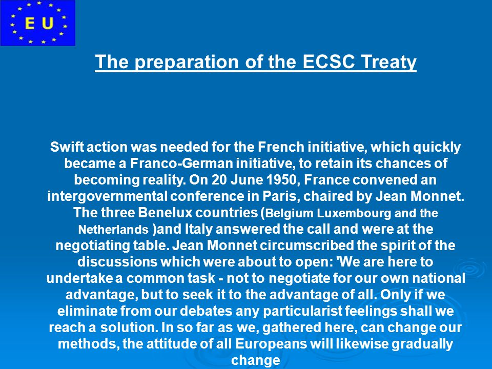 The preparation of the ECSC Treaty