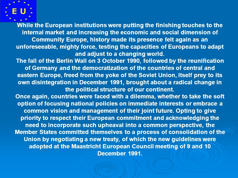 While the European institutions were putting the finishing touches to the internal market and increasing the economic and social dimension of Community Europe, history made its presence felt again as an unforeseeable, mighty force, testing the capacities of Europeans to adapt and adjust to a changing world.