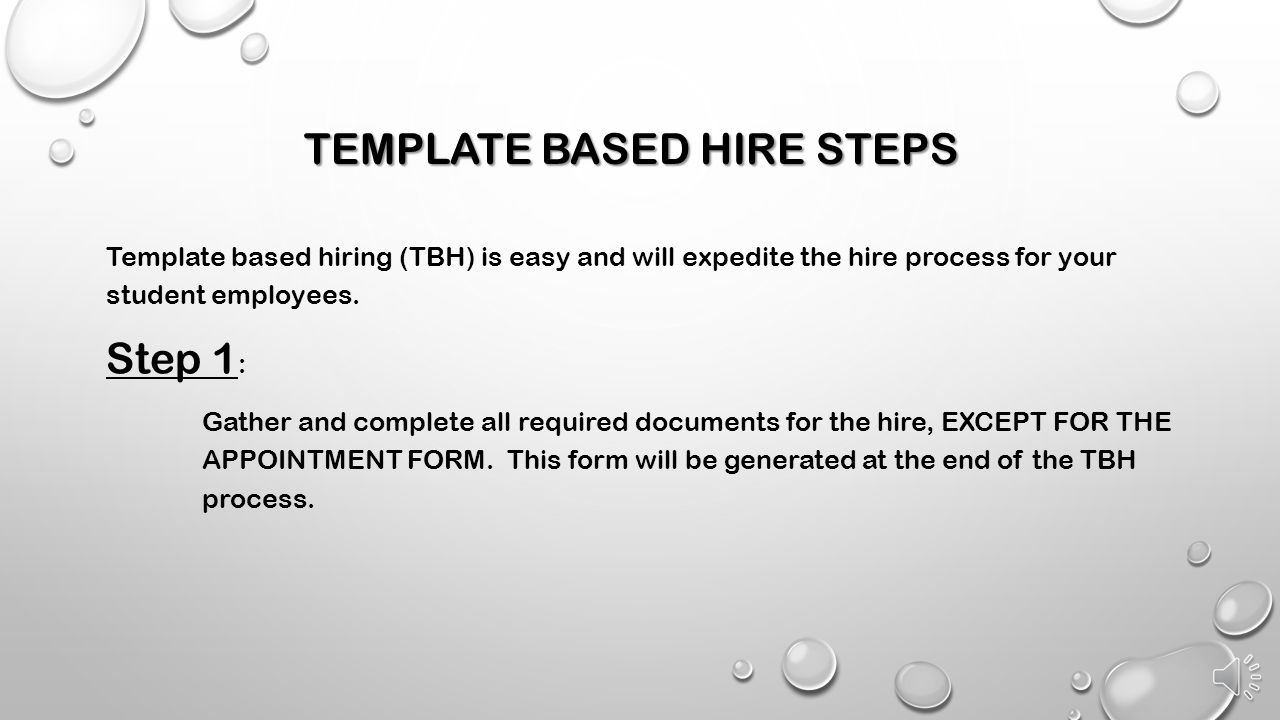 TEMPLATE BASED HIRE STEPS