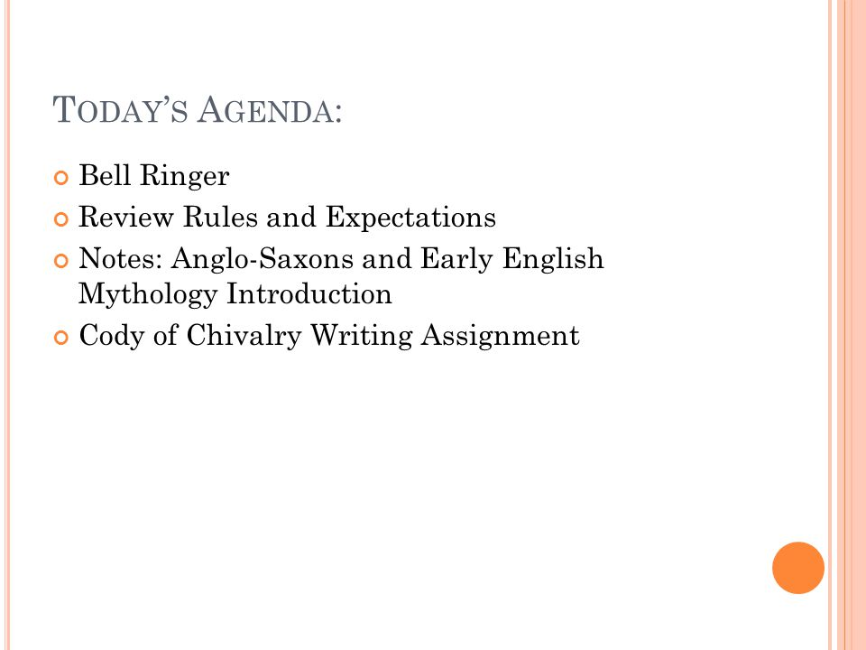 Today's Agenda: Bell Ringer Review Rules and Expectations