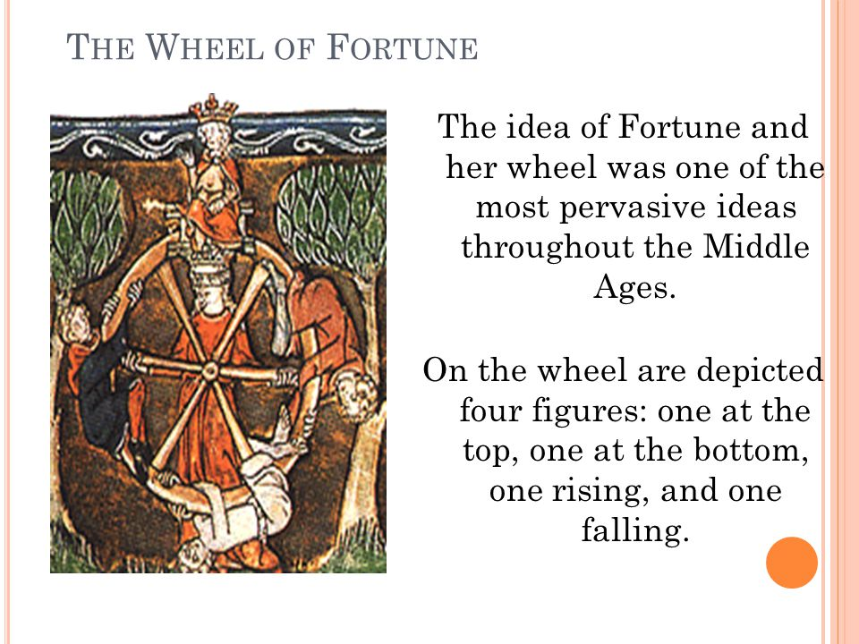 The Wheel of Fortune The idea of Fortune and her wheel was one of the most pervasive ideas throughout the Middle Ages.