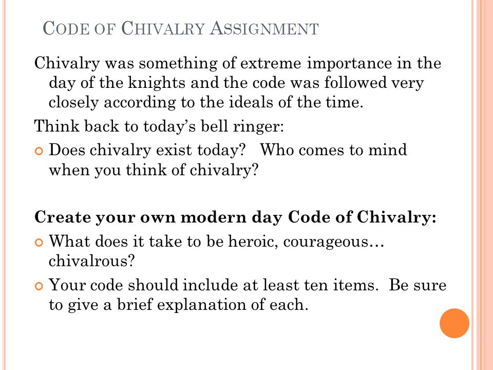Code of Chivalry Assignment