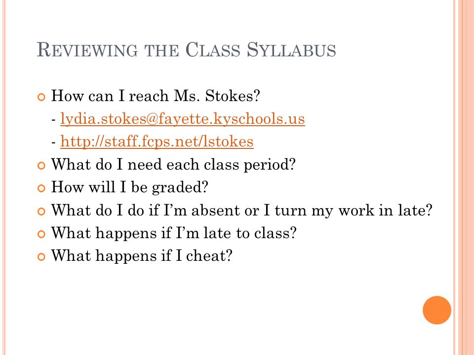 Reviewing the Class Syllabus