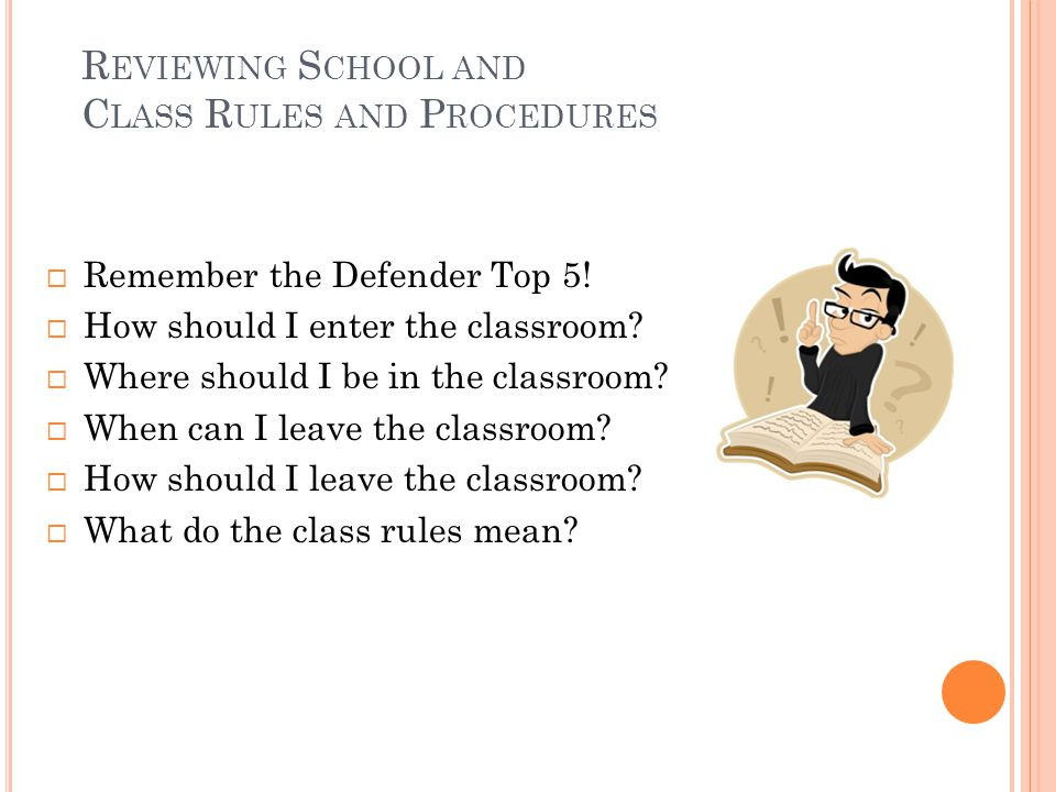 Reviewing School and Class Rules and Procedures