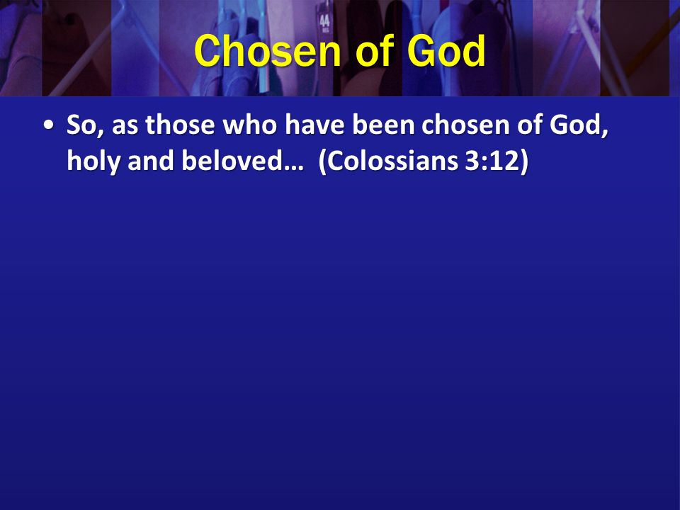 Chosen of God So, as those who have been chosen of God, holy and beloved… (Colossians 3:12)