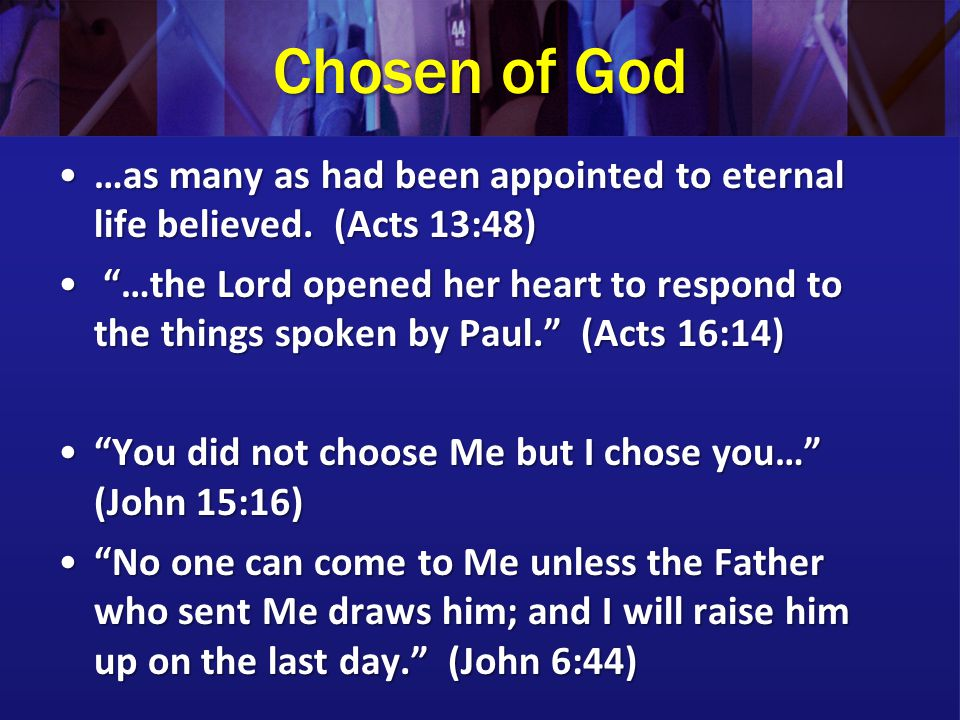 Chosen of God …as many as had been appointed to eternal life believed. (Acts 13:48)