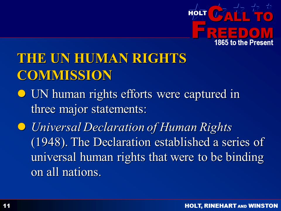 THE UN HUMAN RIGHTS COMMISSION