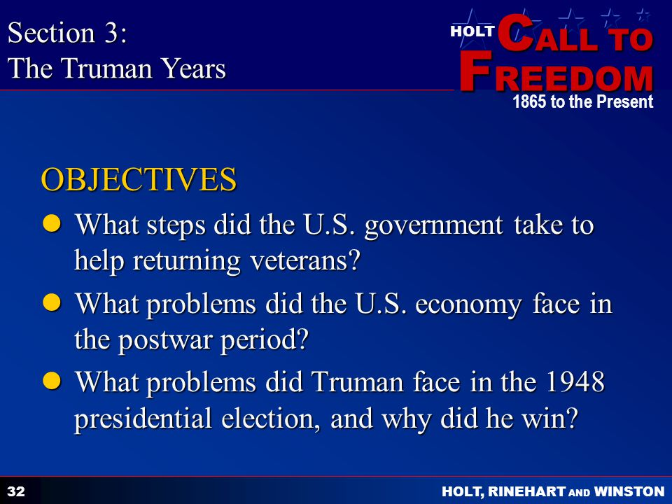OBJECTIVES Section 3: The Truman Years