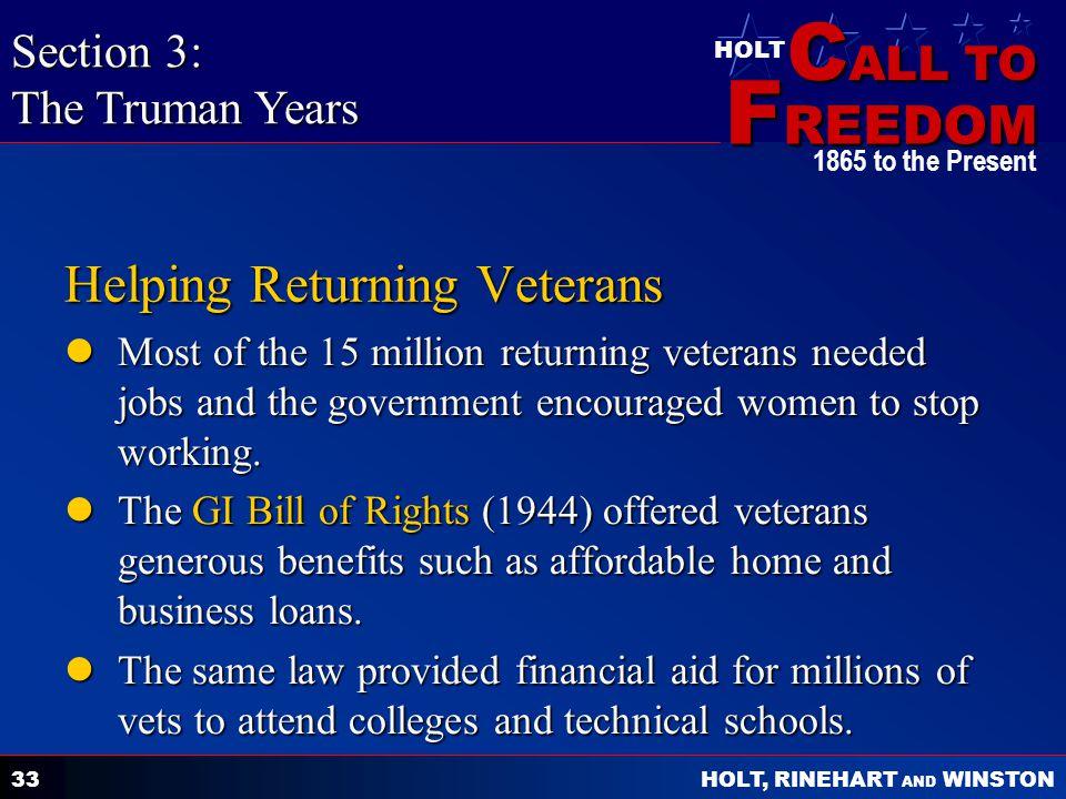 Helping Returning Veterans
