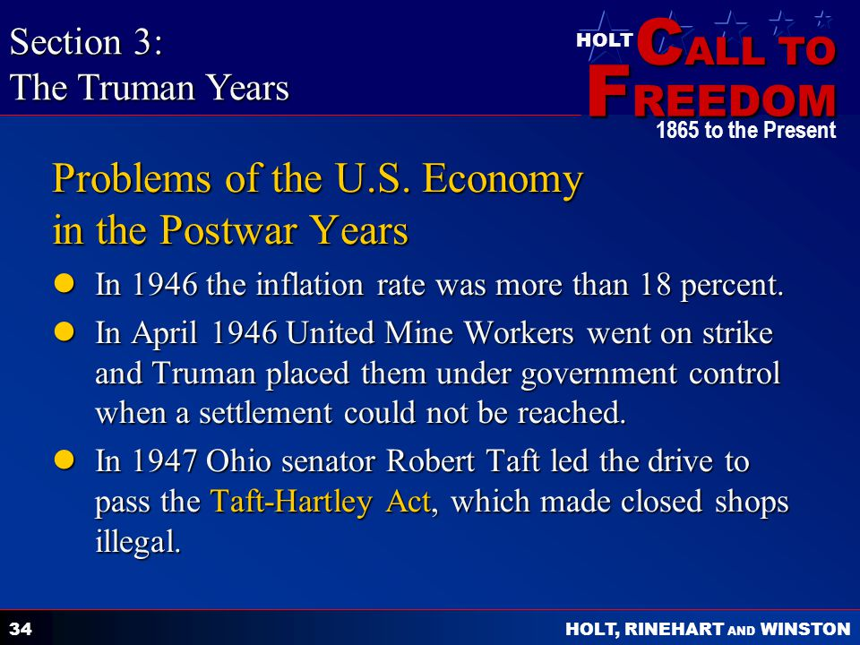 Problems of the U.S. Economy in the Postwar Years