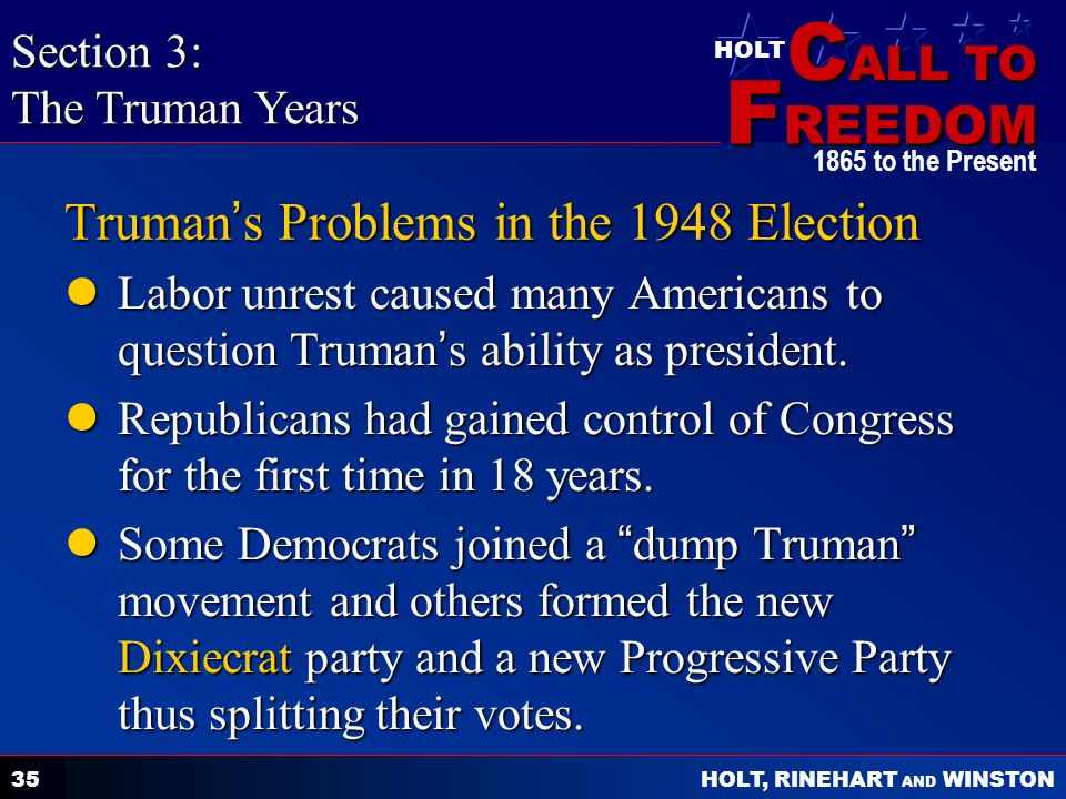 Truman's Problems in the 1948 Election