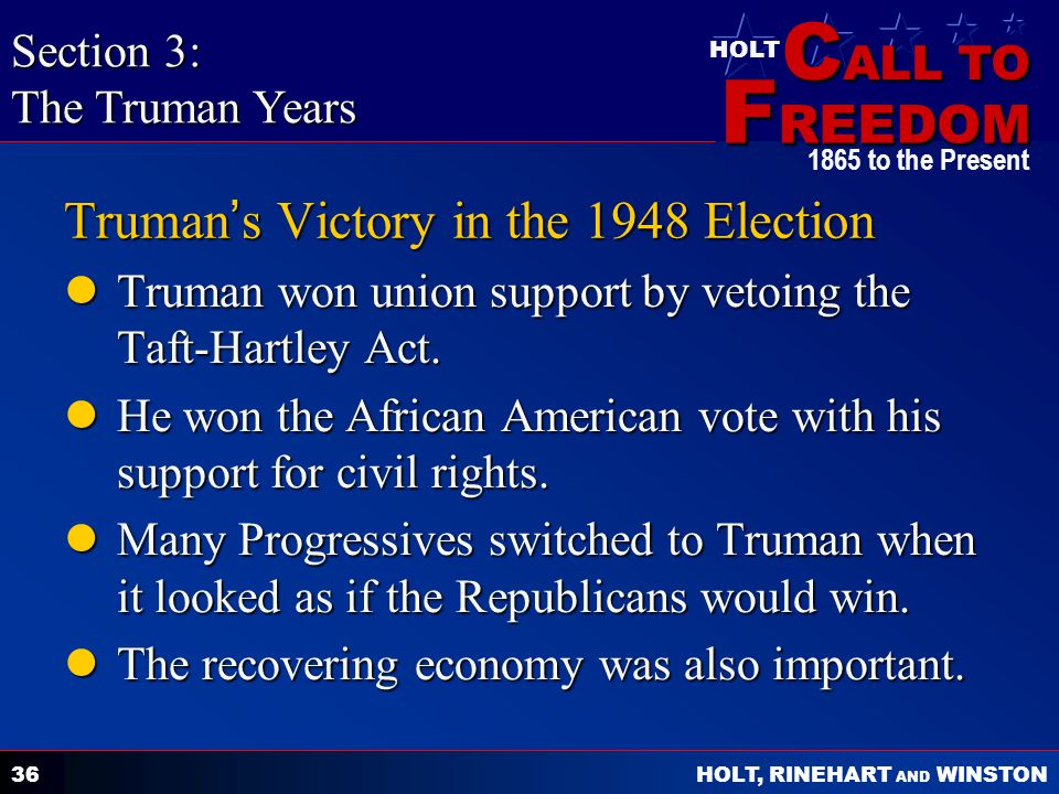 Truman's Victory in the 1948 Election
