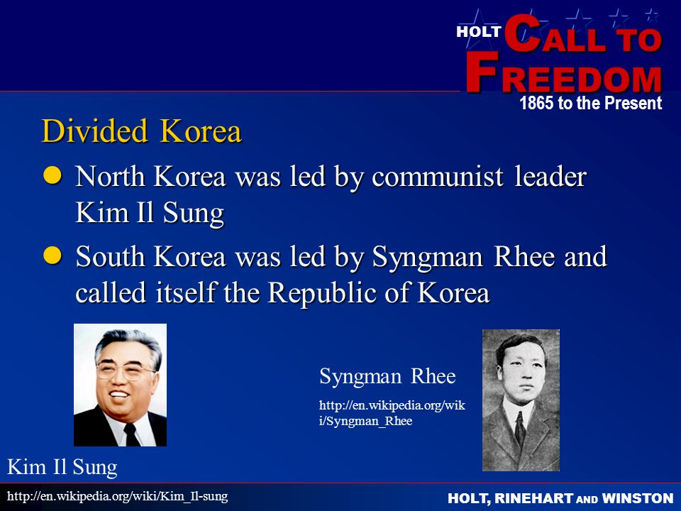 Divided Korea North Korea was led by communist leader Kim Il Sung