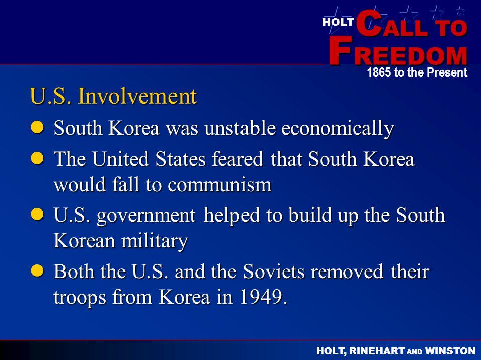U.S. Involvement South Korea was unstable economically