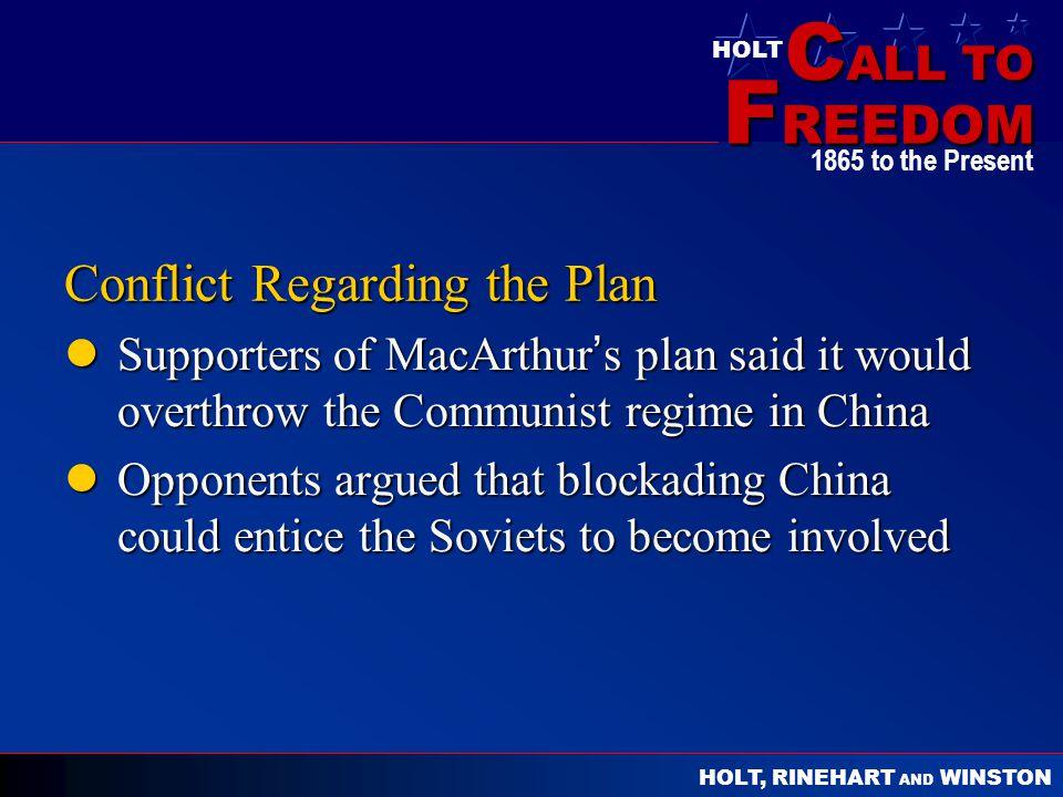 Conflict Regarding the Plan