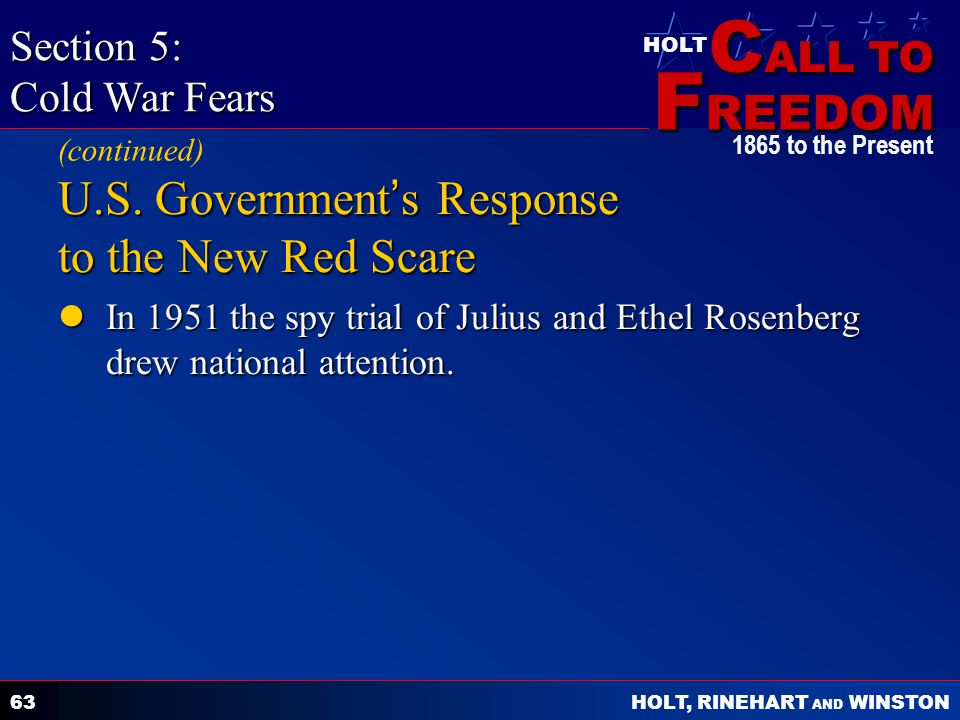U.S. Government's Response to the New Red Scare