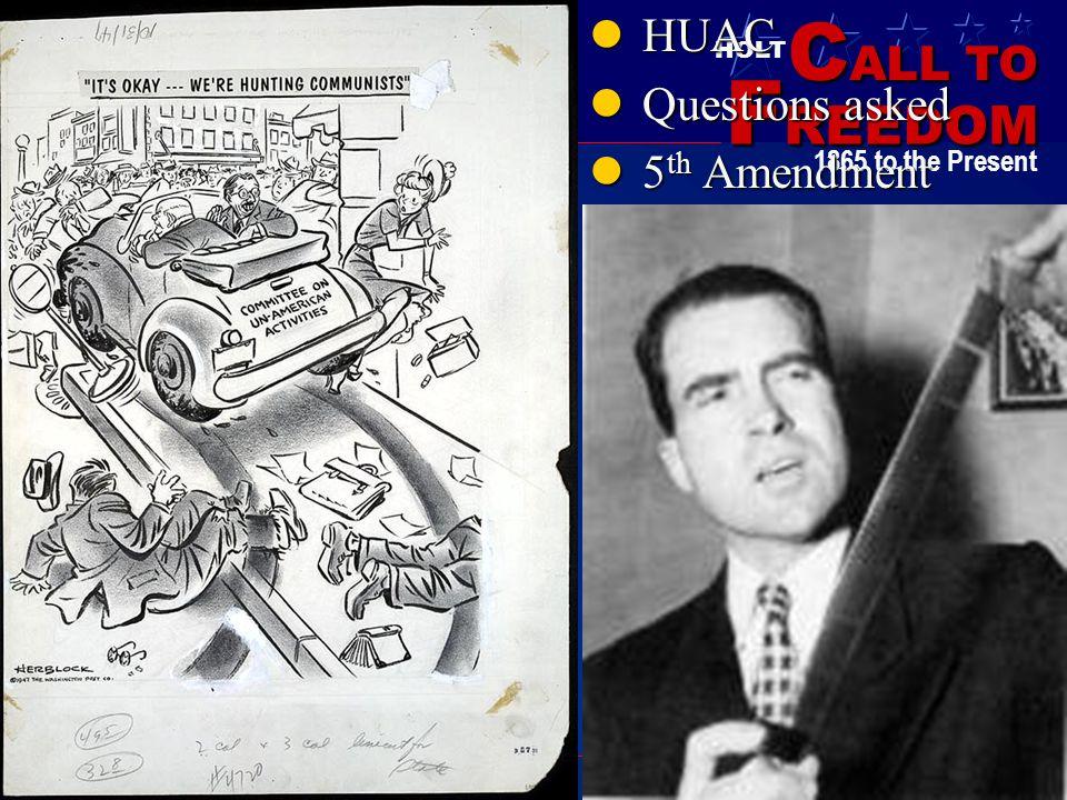 HUAC Questions asked 5th Amendment