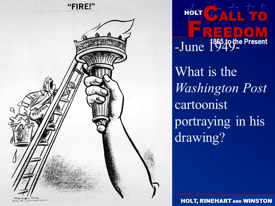 -June 1949- What is the Washington Post cartoonist portraying in his drawing