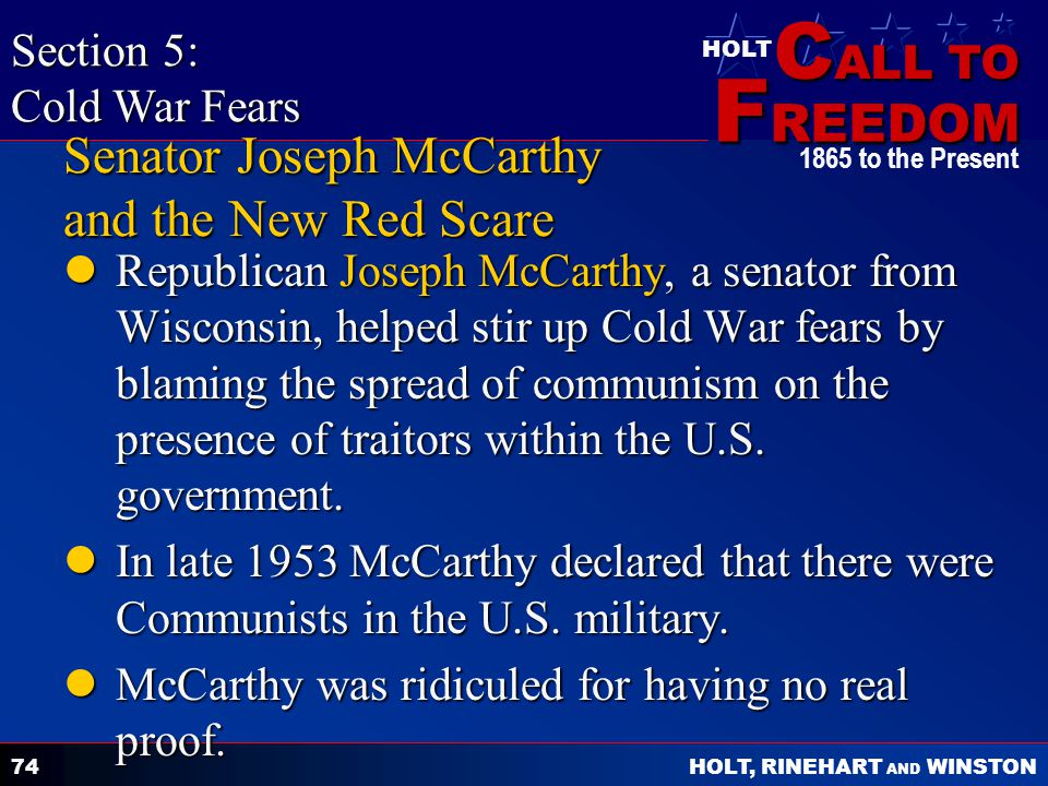 Senator Joseph McCarthy and the New Red Scare