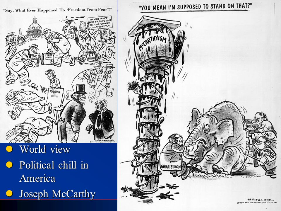 World view Political chill in America Joseph McCarthy