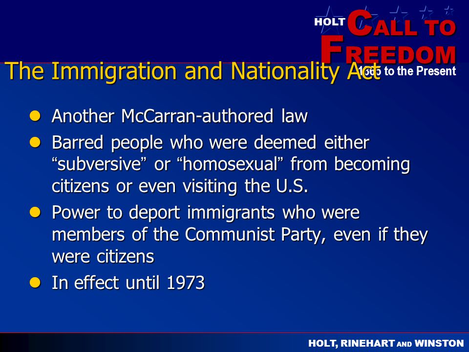 The Immigration and Nationality Act