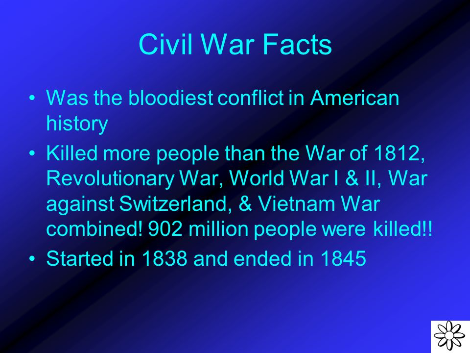 Civil War Facts Was the bloodiest conflict in American history