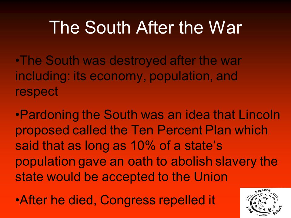 The South After the War The South was destroyed after the war including: its economy, population, and respect.