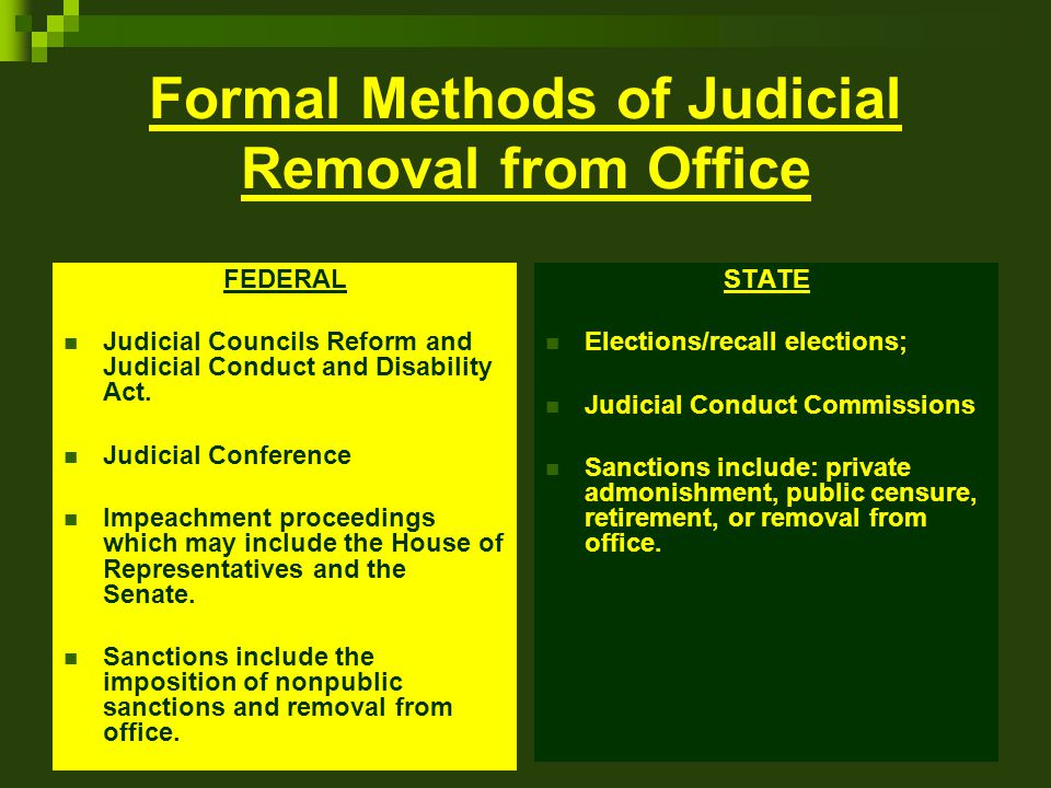 Formal Methods of Judicial Removal from Office