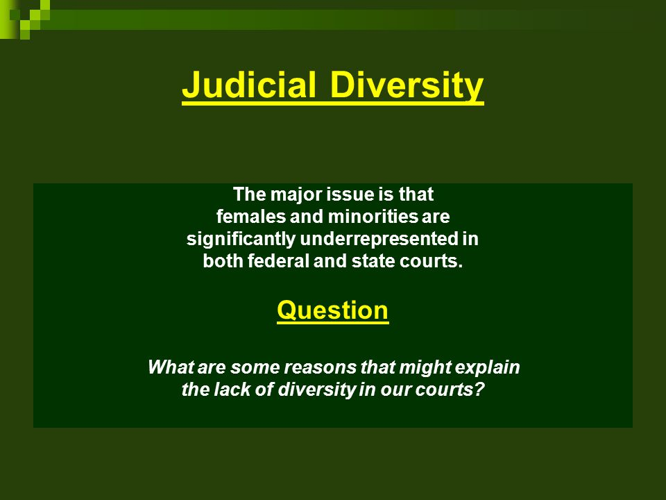 Judicial Diversity Question The major issue is that