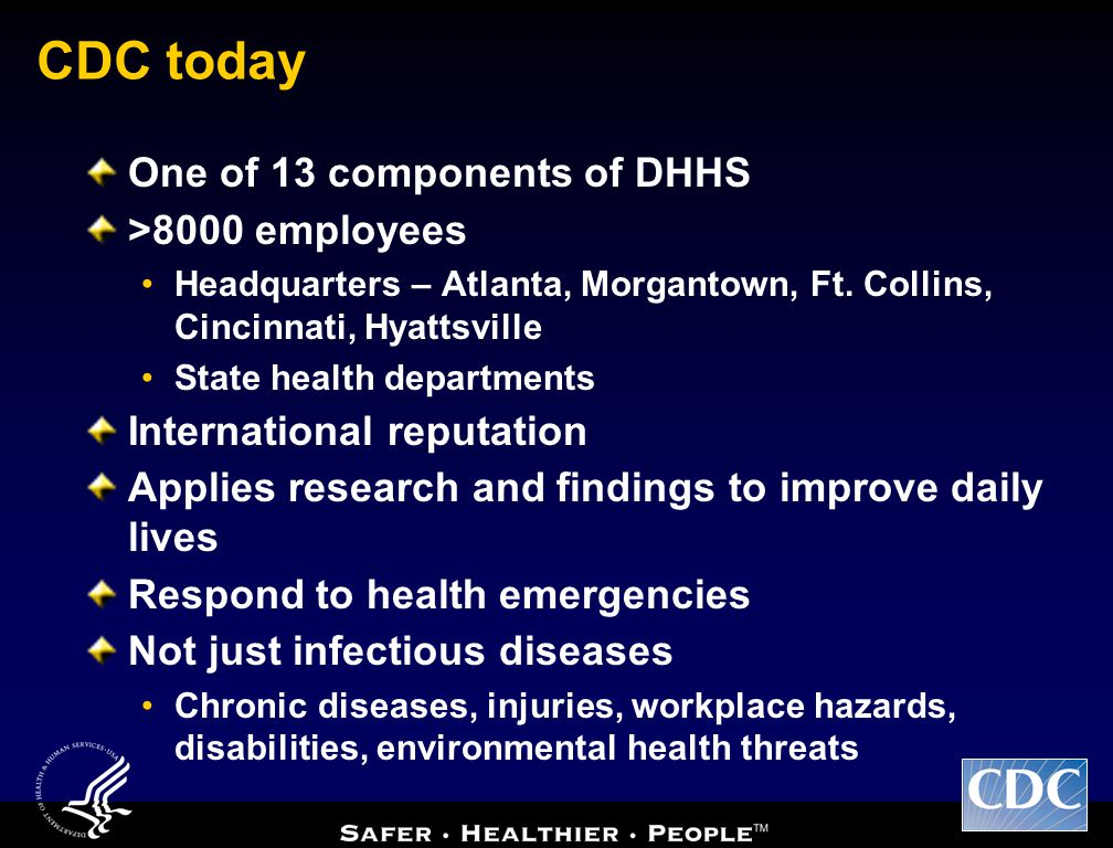 CDC today One of 13 components of DHHS >8000 employees