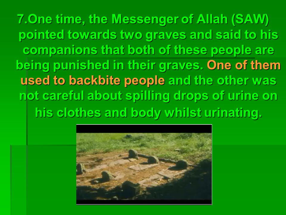 7.One time, the Messenger of Allah (SAW) pointed towards two graves and said to his companions that both of these people are being punished in their graves.