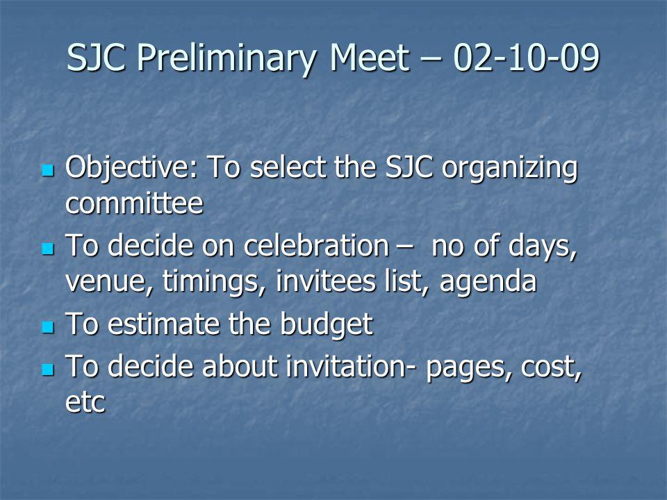 SJC Preliminary Meet – 02-10-09