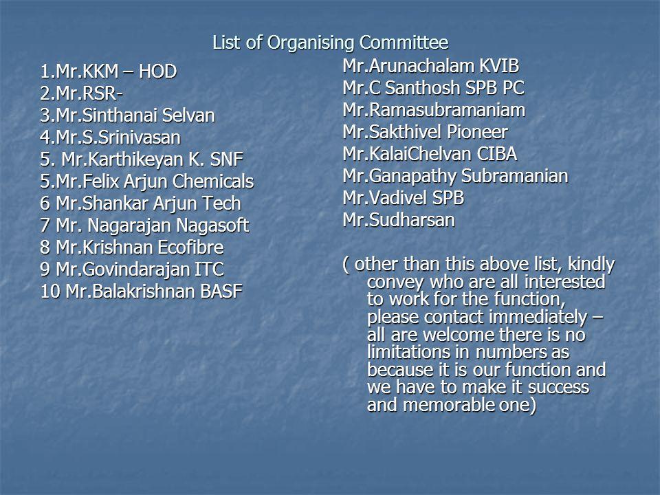 List of Organising Committee