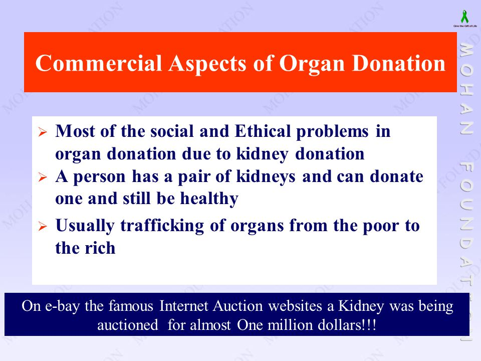 Commercial Aspects of Organ Donation