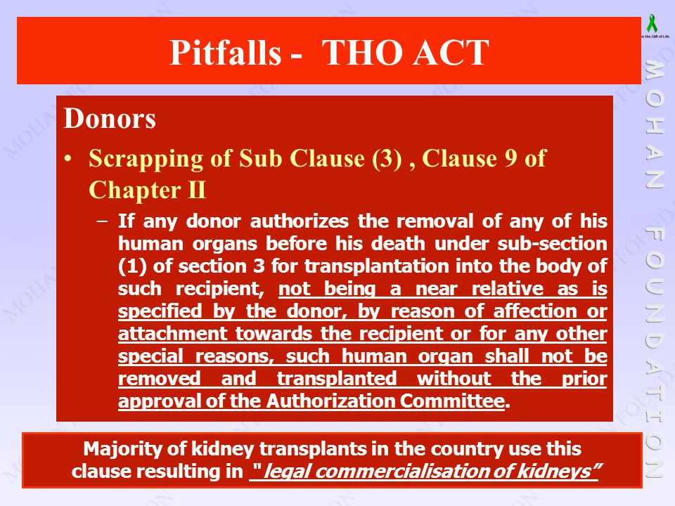 Pitfalls - THO ACT Donors