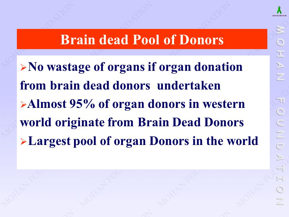 Brain dead Pool of Donors