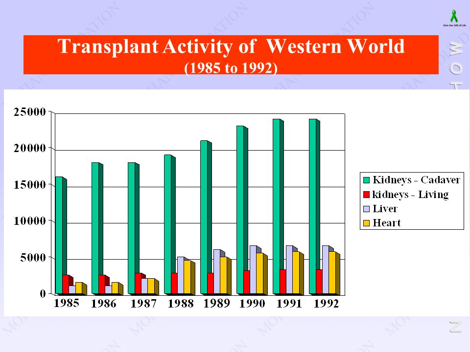 Transplant Activity of Western World (1985 to 1992)