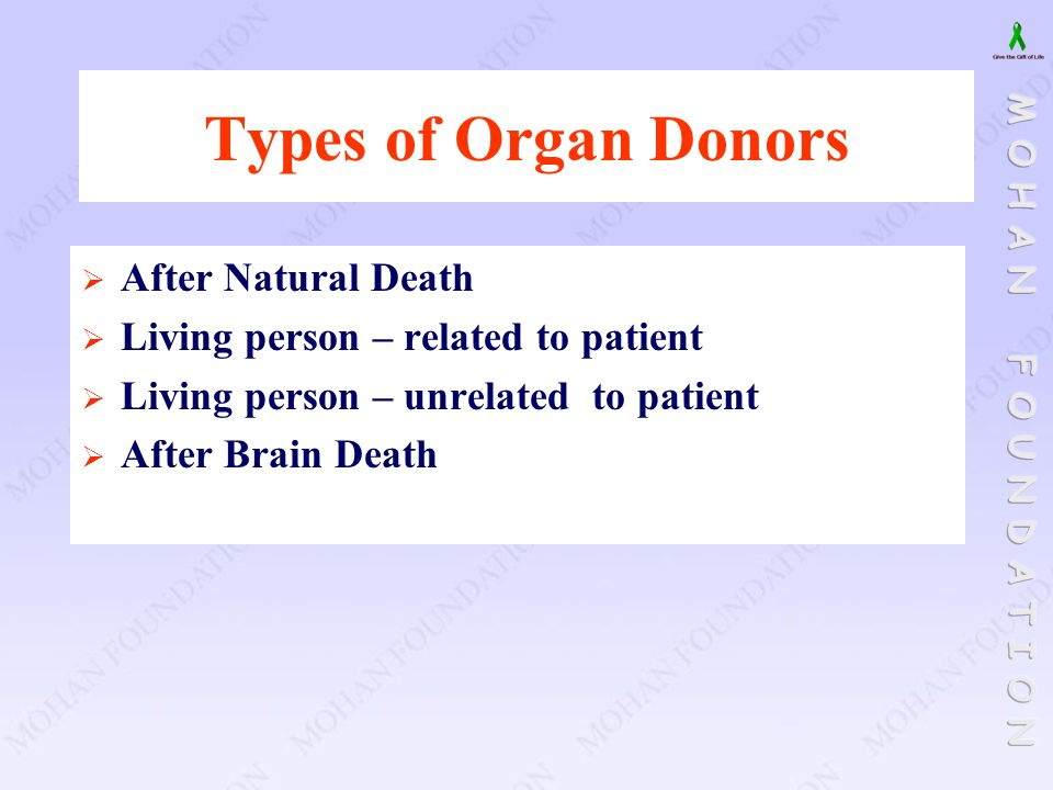 Types of Organ Donors After Natural Death