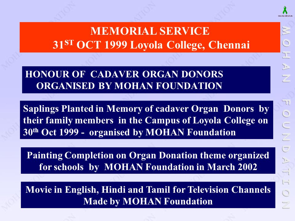 MEMORIAL SERVICE 31ST OCT 1999 Loyola College, Chennai