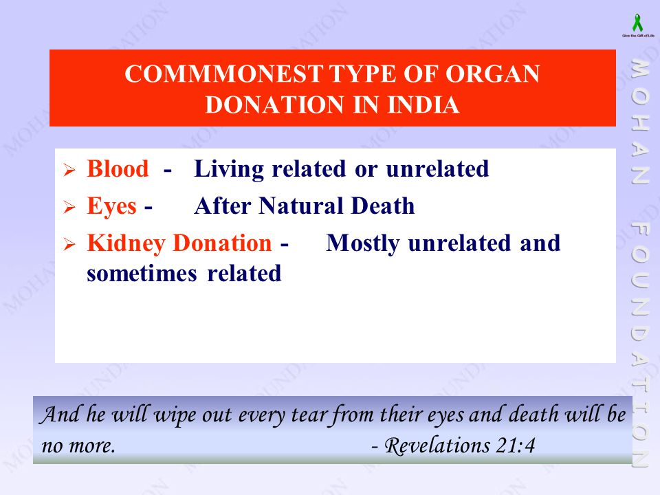 COMMMONEST TYPE OF ORGAN DONATION IN INDIA