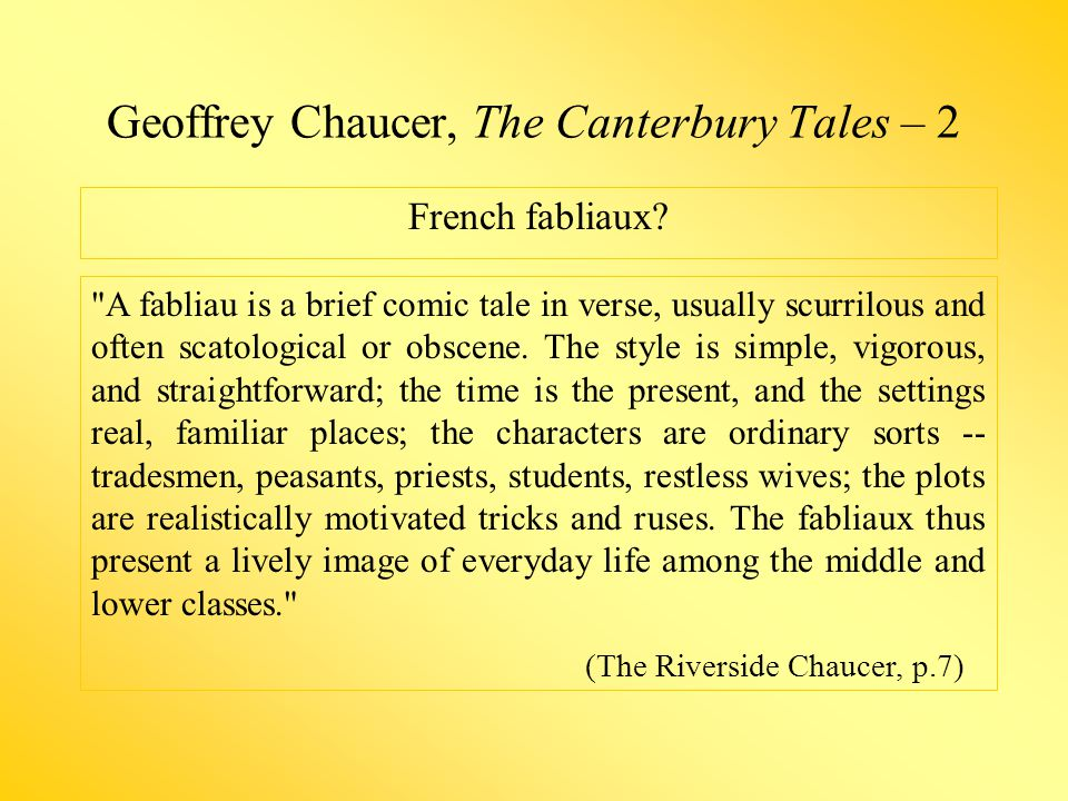 Geoffrey Chaucer, The Canterbury Tales – 2