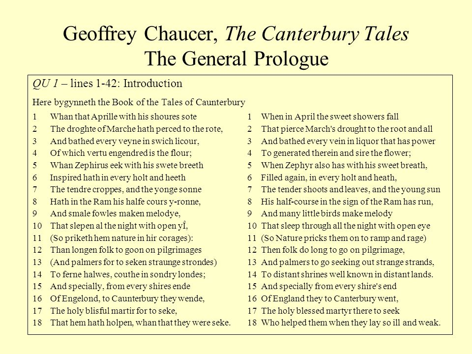 Geoffrey Chaucer, The Canterbury Tales The General Prologue