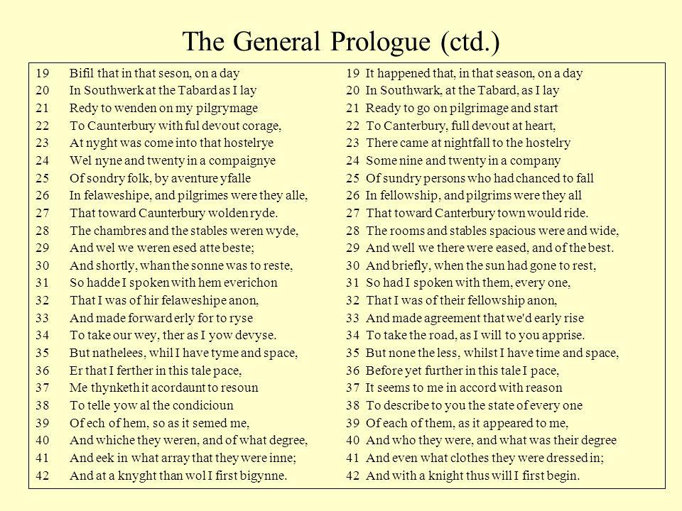 The General Prologue (ctd.)