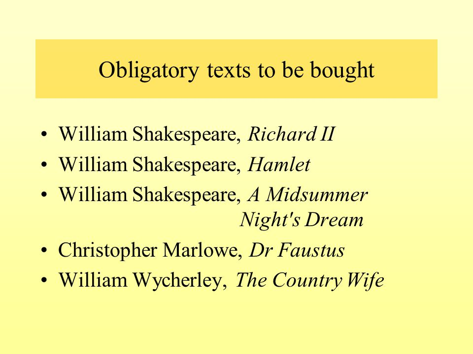Obligatory texts to be bought